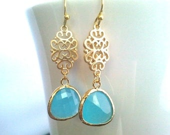 Oriental Ocean Blue Gold Earrings,Drop, Dangle, Glass Earrings, bridesmaid gifts,Wedding jewelry