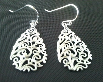 Paisley Small Drop Silver  ,Drop, Dangle, Earrings,bridesmaid gifts,Wedding jewelry,christmas gift, cocktail jewelry