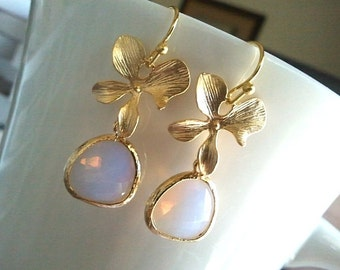 Orchid earrings, Opal Jwelry, Lucky flower with Violet Opal Wedding Earrings,Drop, Dangle, Gemstone,Bridesmaid Jewelry Bridesmaid Gift