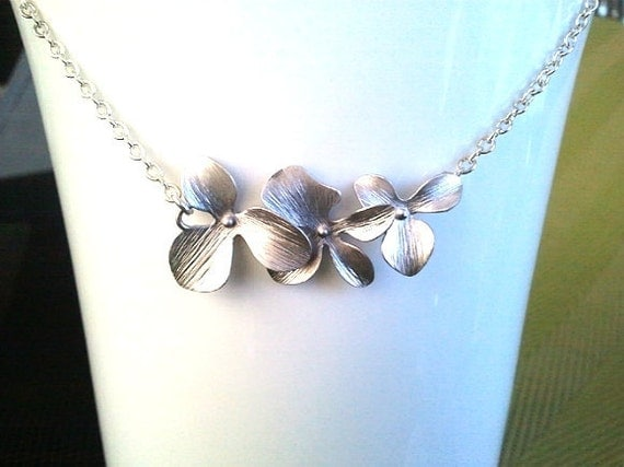 Orchids wedding Necklace, Lariat, Statement Necklace, bridesmaid gifts, bridal gift, wedding jewelry, christmas gift, cocktail jewelry