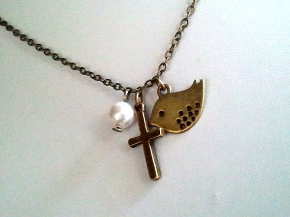 Antiqued Vintage Cross with Bird and Pearl Charms Necklace - simple, modern, friend gift