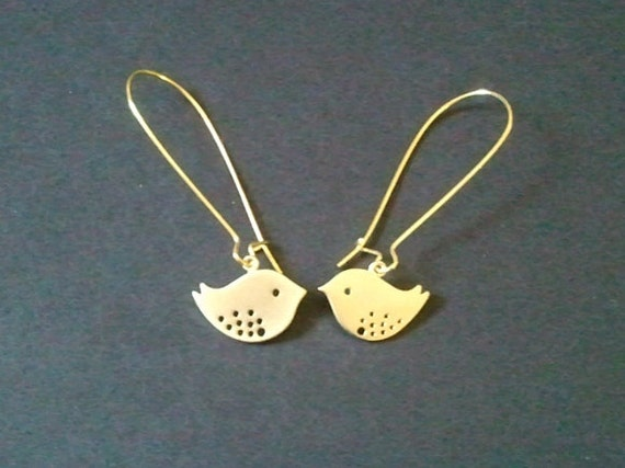 Lovely Bird Gold Earrings - SILVER OR GOLD -Earrings,Drop, Dangle, bridesmaid gifts,Wedding jewelry