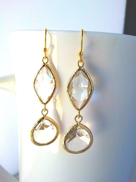 Clear Crystal Gold Earrings, Drop, Dangle Earrings, bridesmaid gifts, Clear Crystal, Bridesmaid jewelry,graduation gifts