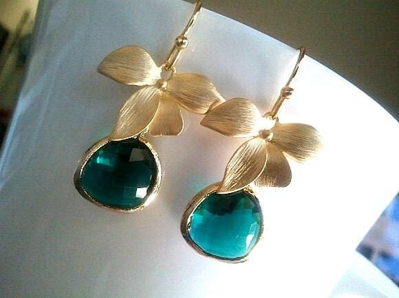 emerald earrings flower drop dangle glass earrings