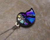 CUSTOM ORDER FOR rock789: Blue and purple (with streaks of gold) ammonite dichroic glass pendant