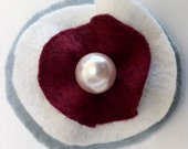 Round Brooch Pin with Pearl, Grey, White, and Maroon Felt Brooch Pin, Felt Brooch Pin, Handmade Accessory