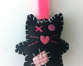 Felt Toy, Plush Toy, Black and Pink Cat with Fabric Patches and Blue Bow, TaraCat, Plushie Softie Toy, Christmas Gift for Children