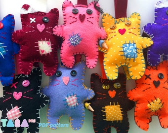 DIY Felt Pattern Cat with Patches, Fabric Cat Toy, PDF Instant Download, TaraCat, DIY Pdf Sewing Pattern, Felt Animal Tutorial