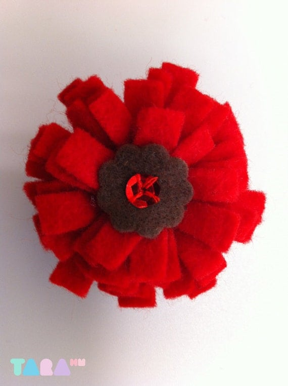 Red Flower Felt Brooch Pin, Handmade Accessory, Red and Brown Brooch Pin with Sequin, Christmas Gift