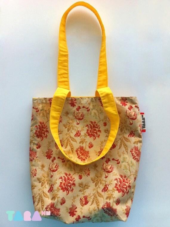 Bag, Handbag, Small Bag, Brown Yellow Beige and Red Bag, Flower Pattern Fabric Bag, Pouch Bag, Christmas Gift