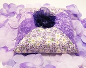Pincushion purple with white daisies and butterflies-Pin cushion-sewing project