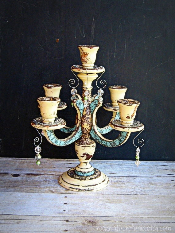 Vintage Candelabra, Wood, Decoupage, Handpainted