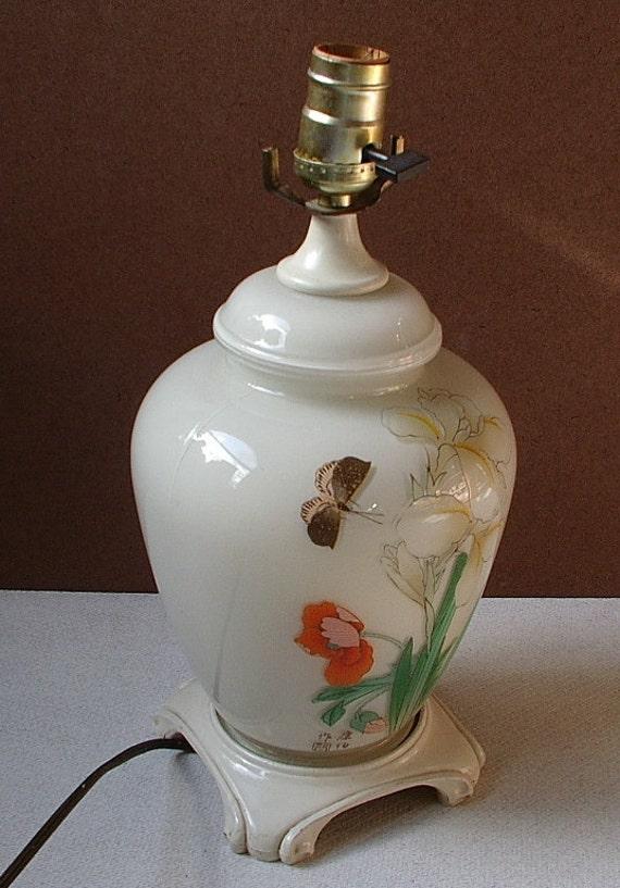 Oriental Desk Lamp Vintage Flowers Iris Poppy Butterfly Electric