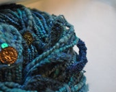 Handspun Yarn - Green and Blue Treasure - Art Yarn - under the sea - with sequins and beads