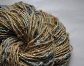 RESERVED for Sandy - Handspun Art Yarn - 100% Silk yarn - Old Gold and Duck Egg - Beads and Sparkle
