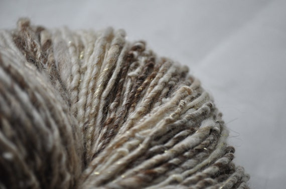 Handspun Yarn - Vintage Natural - with tussah silk and sparkle