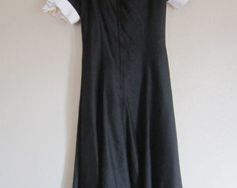 Vintage Dress-Black Cocktail Gown, Full Skirt with White Cuffs