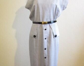 Sale Vintage Dress/ A Line Dress / Pin stripe/ Black Button down / By Scarlett