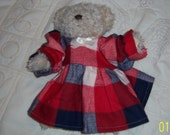 "Doll Dress-Flannel Plaid-Old Western-Fits Medium Doll or stuffed toy 8"" to 11"""