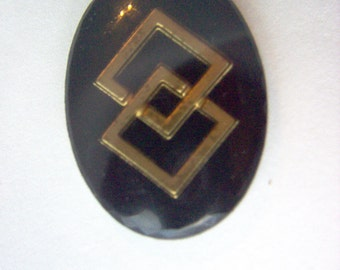 Vintage Glass Intaglio Black and Gold Geometric  # K 13