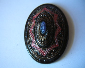 Large Vintage Hand Painted Black Glass Cabochon # C 5