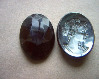 Vintage Hematite Carved Glass Cameo with Faceted Back