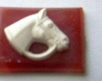 Vintage White Horse on Reddish Brown Plastic Rectangle Cabochon     # WW 16