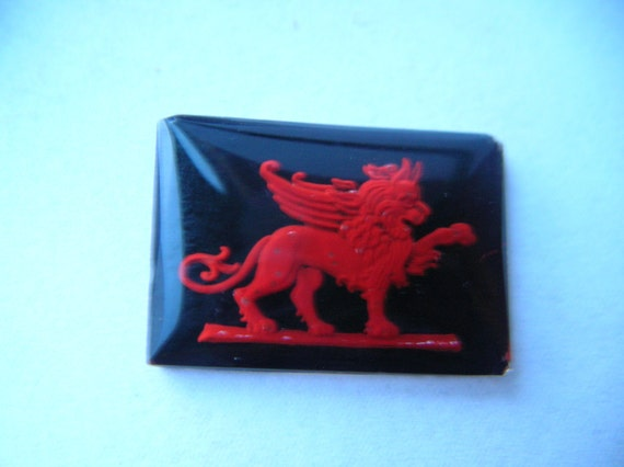 Vintage Glass Intaglio of  Griffin/ Winged Lion
