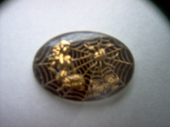 Vintage Glass Intaglio of  a Woman with a Spiderman  # PP   7-11