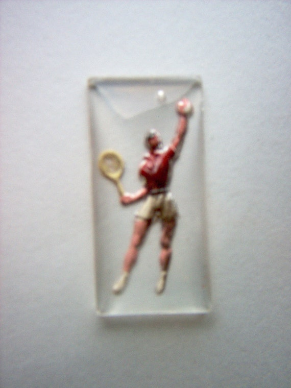 Vintage Glass Intaglio of Tennis Player      # NN 14-15