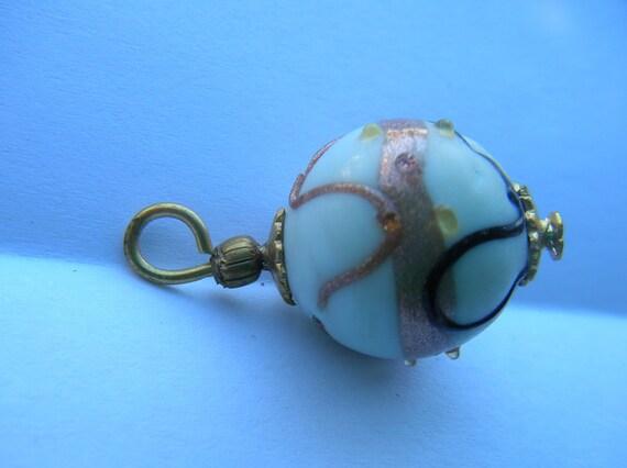 Venetian Wedding Cake Beads with Brass  Head Pins and Bead Caps x 6