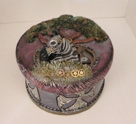 Steampunk Zebra OOAK Millefiori Box