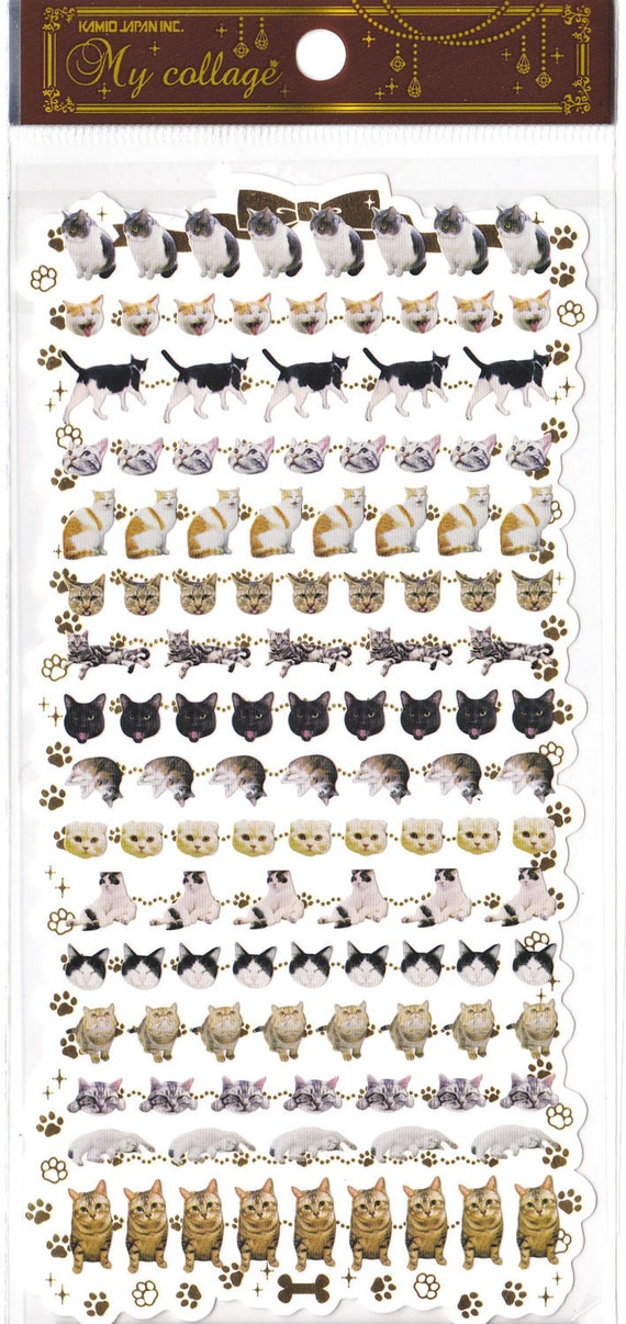 Kawaii Japan Sticker Sheet Assort: My Collage Series Mini Cat Bodies and Heads for Diy Decorations Crafts Schedule Book Planner