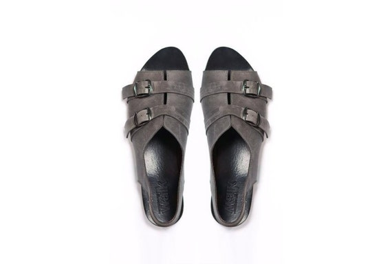 SALE 15% OFF, Double buckle grey sandals