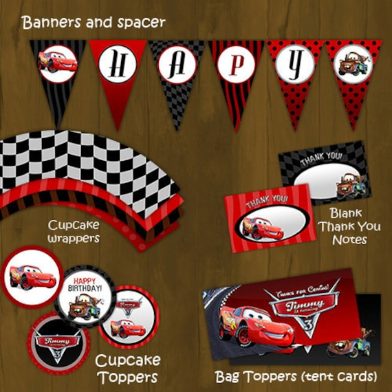 Lightning mcqueen party decorations - Disney Cars Printable Birthday Party By Splashboxprintables