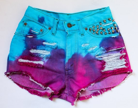 bright turquoise, purple, and hot pink / Levi's vintage denim / English punk cone spike studs & destroyed / high waisted shorts