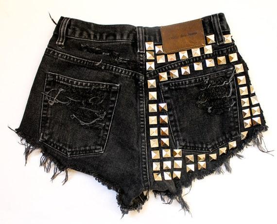 black / Calvin Klein vintage denim / pyramid studsand destroyed / high waisted shorts