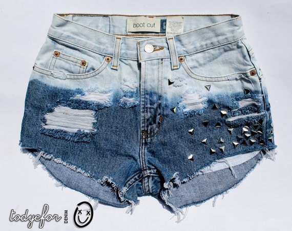 SALE - Bleached Ombre High Waisted Denim Shorts Vintage Denim Studded Jean Cut Offs