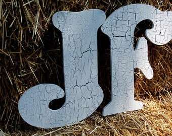 "Guest Book Alternative 18"" tall Large Wood Letters.  Two Wedding wood letters for your first initials (A - Z)"