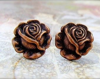 Antique Copper Rose post earrings