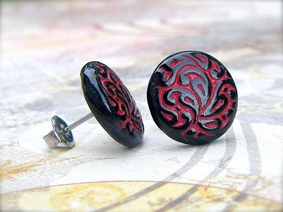 Red and Black Leaf - vintage glass button stud earrings