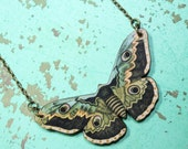 Vintage print butterfly necklace