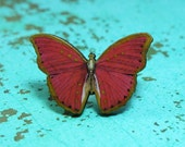 Vintage print red wooden butterfly ring