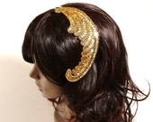 Adjustable gold sequin feather fascinator headband