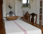 Vintage French Grain Sack Table Runner
