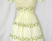 Vtg 50s Yellow Floral Embroidered Sheer Swing Party Dress XS