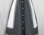 Vtg 50s Black/White Checkered Swing Skirt sz XS-S Eyelet Lace Trimmed Petticoat