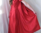 Vtg 50s Red Satin Formal Gown/Dress Attached Cape Tiny Buttons XS/S Cap Sleeves
