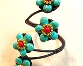 Romantic Turquoise and Coral Four Mini Flowers Cuff