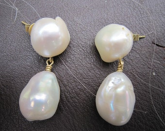 Extra large pearl earrings